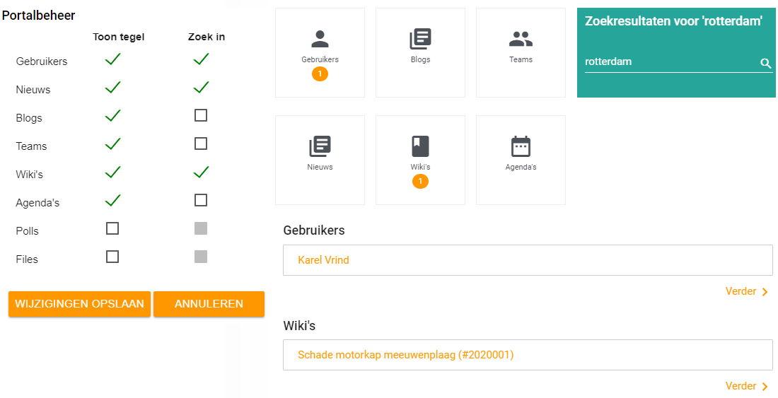 Flexible configuration of portal search results screen